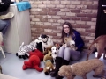 Volunteer Hannah hanging out with the dogs